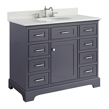 Gentil Aria 42 Inch Bathroom Vanity (Quartz/Charcoal Gray): Includes A Charcoal