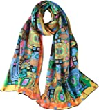 Women's Long Charmeuse Silk Scarf Classic Art Print