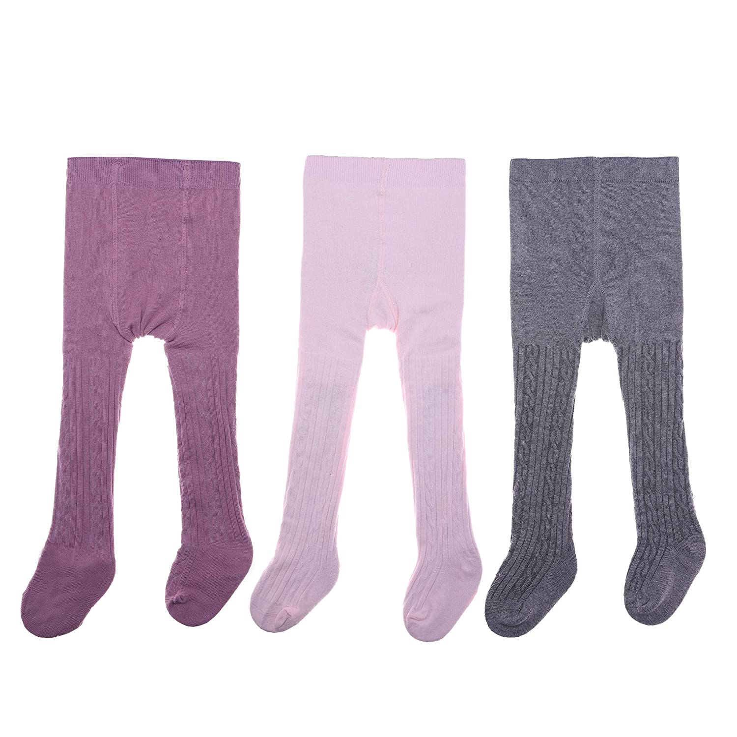 PUREMART 3 Pack Baby Girls Tights Seamless Cable Knit Tights Cotton Leggings Pants For Infant Girl Stockings 0-6 Year Old.