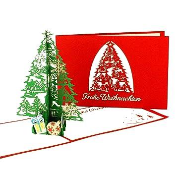 Pop Up Karte Tannenbaum.3d Pop Up Karte Weihnachten Tannenbaum Geschenke Edle