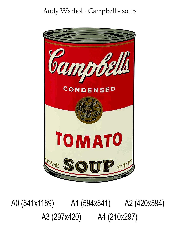POSTER su carta fotografica premium 270 gr Campbells soup Fine Art Print Locandina HD 100/% QUALIT/à ITALIA Idea Regalo Casa quadro home Andy Warhol A0