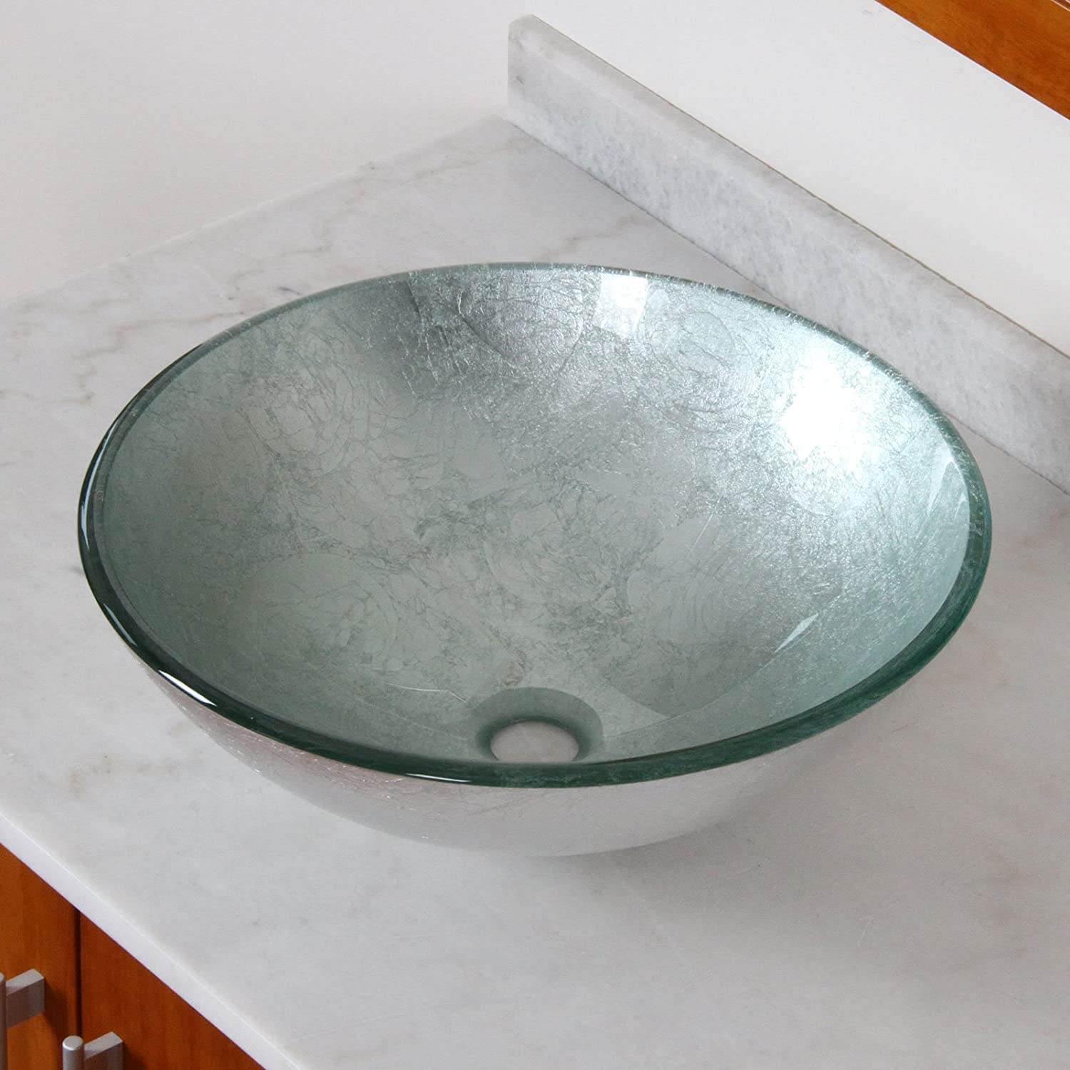 ELITE Modern Tempered Bathroom Glass Vessel Sink With Silver Wrinkles  Pattern U0026 Chrome Waterfall Faucet Combo     Amazon.com