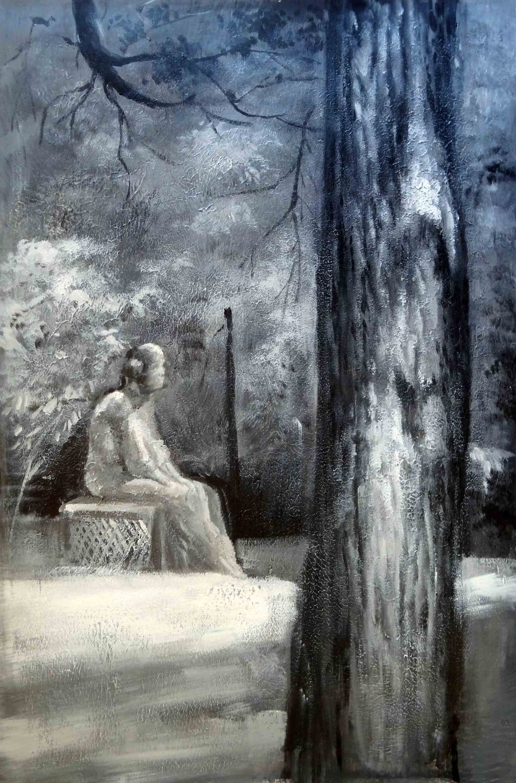 100% Hand Painted Oil Painting on Canvas Wall Art, Bachelor's Grove Cemetery Ghost Paranormal Haunted Chicago UFO Art Oil Painting