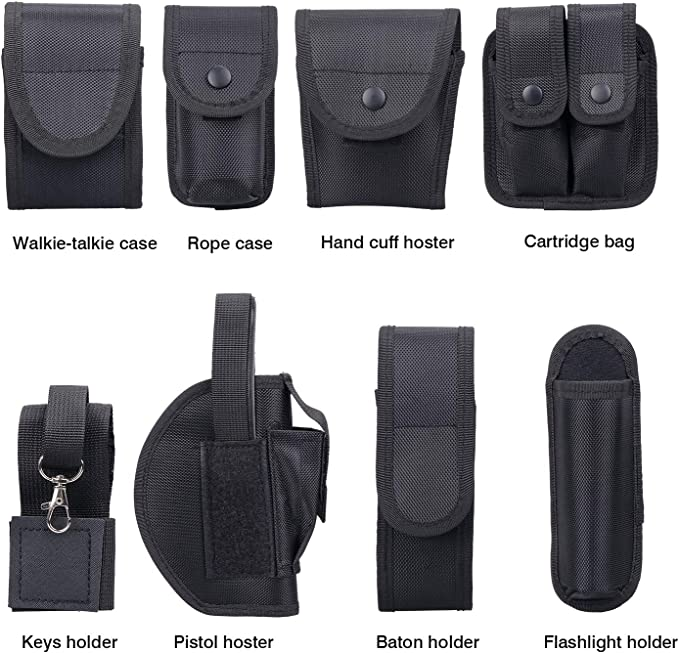 Sparkfire Black Law Enforcement Modular Equipment System Police Security Military Tactical Duty Utility Belt with 9 Components Pouches Bags Holster Gear