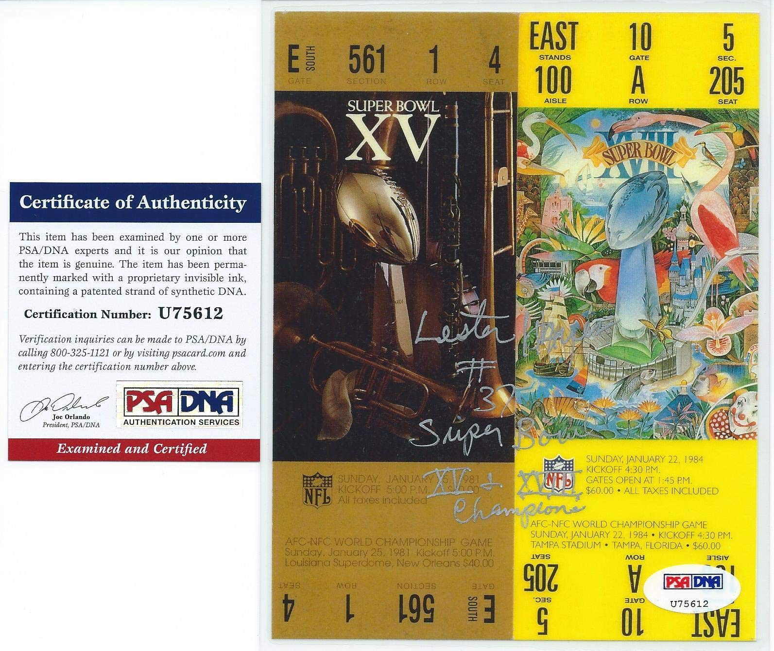 Lester Hayes Oakland Raiders Autographed Signed Super Bowl Tickets Autographed Signed PSA/DNA Authentic