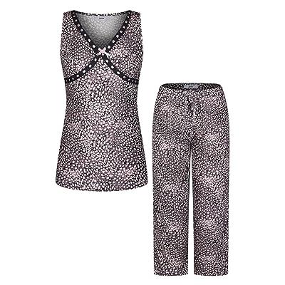 2LUV Women's Printed Sleeveless Lace Detail V Neck Top With Capri Pants Pajama Set