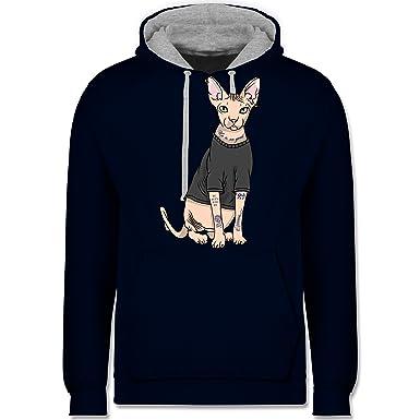 Katzen - Tattoo Sphynx-Katze - Kontrast Hoodie: Shirtracer: Amazon.de:  Bekleidung