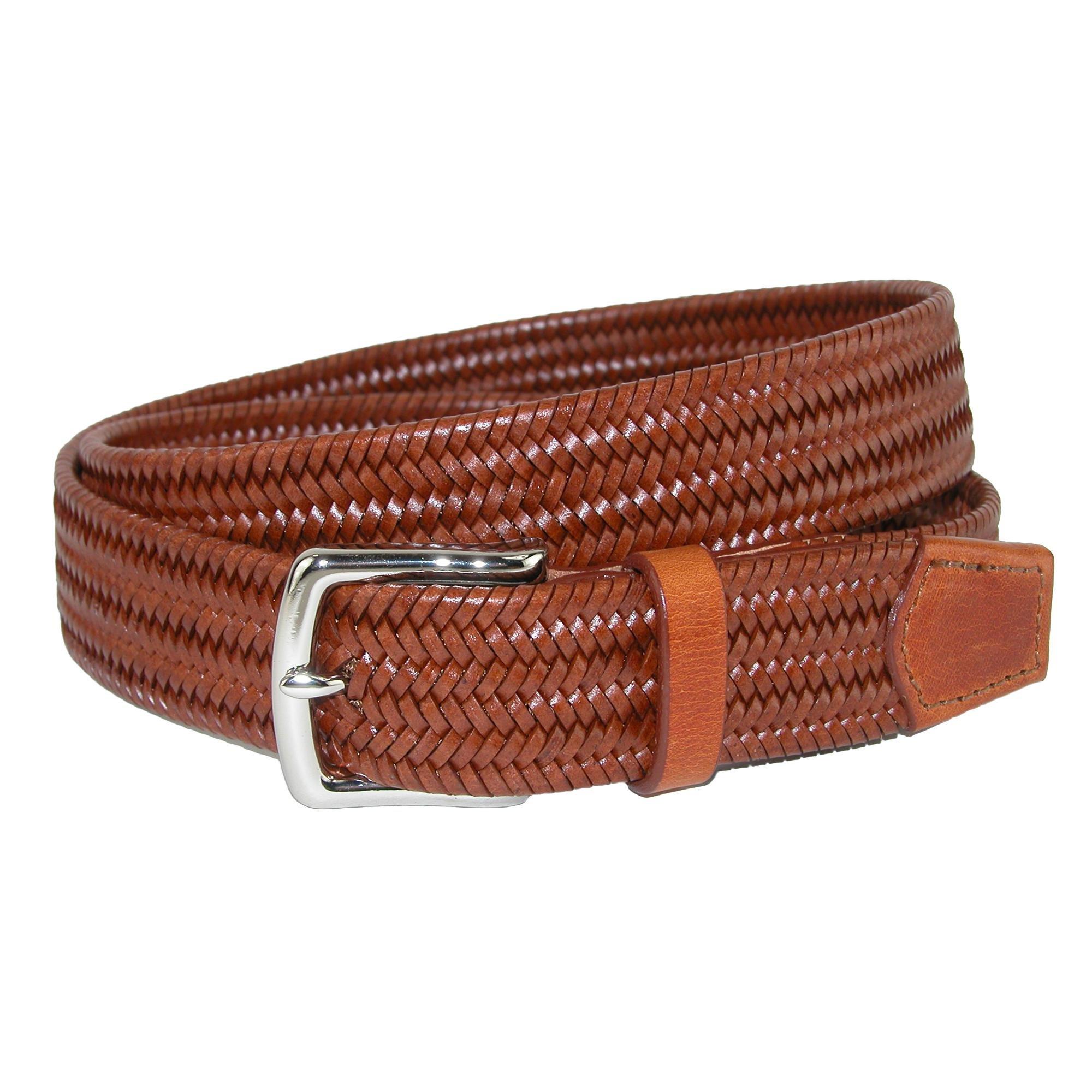 CrookhornDavis Men's Daytona Braided Leather Stretch Belt, 42, Chestnut