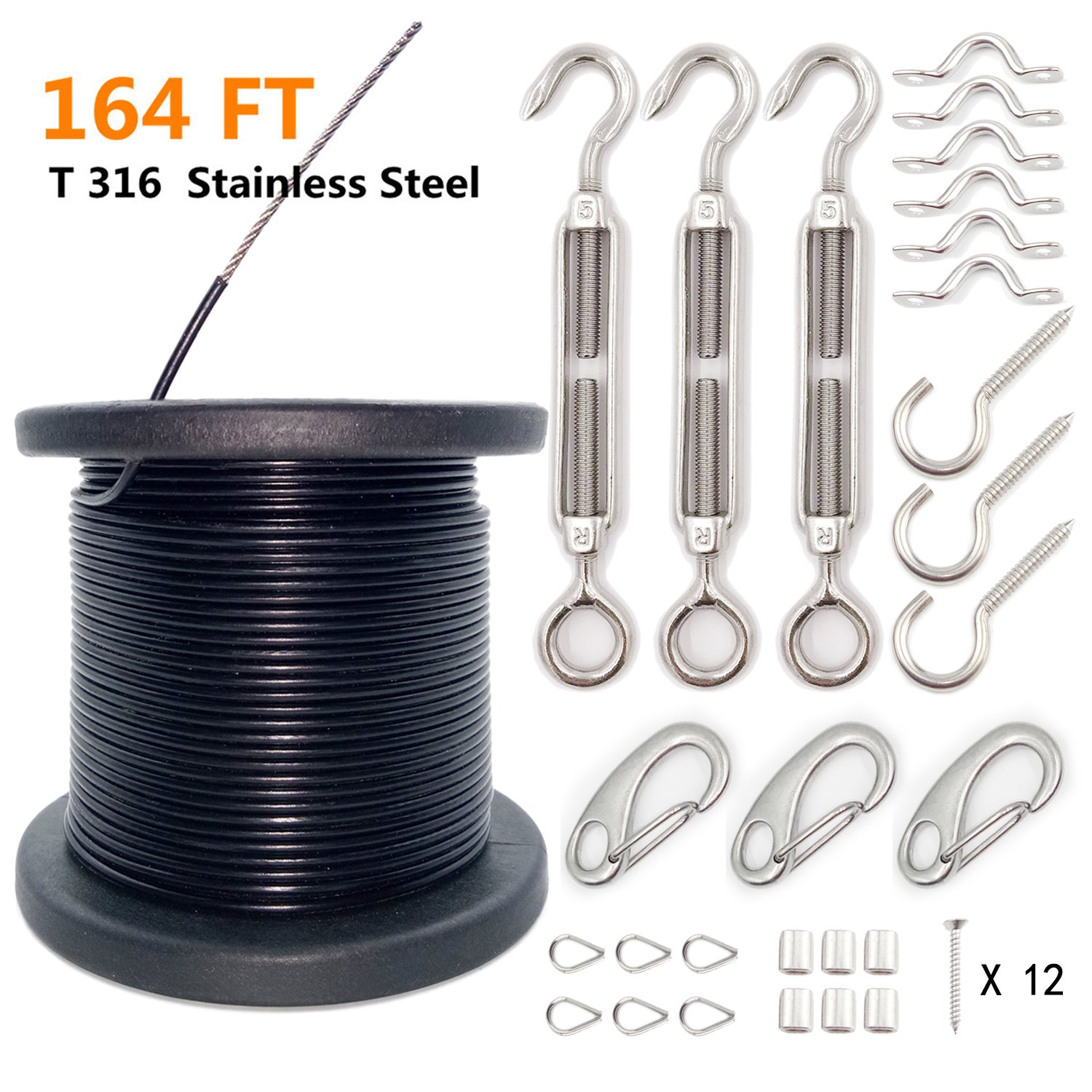 Aotree Globe String Light Suspension Kit, Outdoor Light Guide Wire, Stainless Steel Hanging Cable Kit, 164 ft with Turnbuckles and Hooks