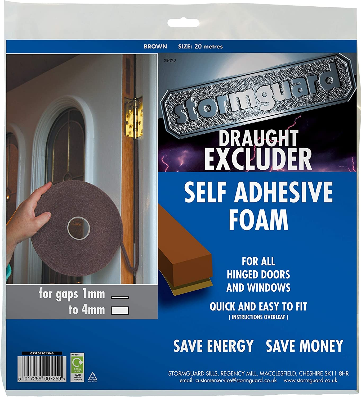 15m Brown Ultraseal Foam Draught Excluder Weather Insulation Door Window Tape