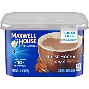 Maxwell House Suisse Mocha Cafe Sugar-Free Beverage Mix (4.1 oz Cans, Pack of 8)