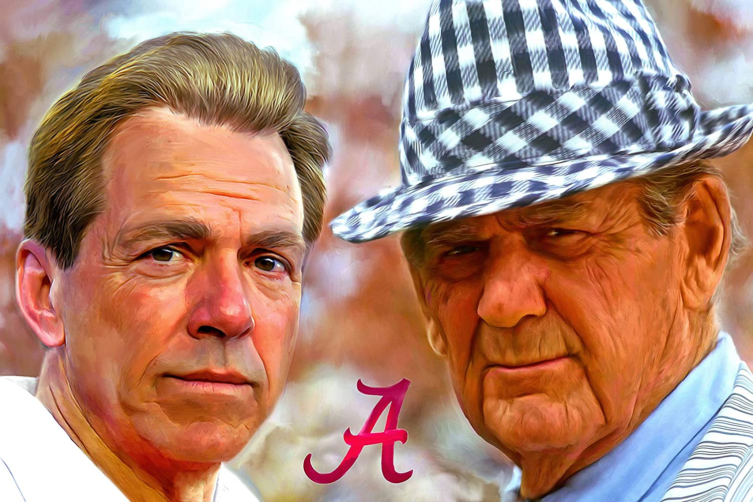Signed Alabama Football Crimson Tide 11x17 Art Print Featuring Nick Saban and Paul Bear Bryant by Mark Spears