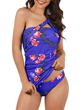 bf6c50eb5 Dellytop Women s Tankini Swimsuit Sexy Two Piece One Shoulder Ruched Tummy  Control Bikini Set
