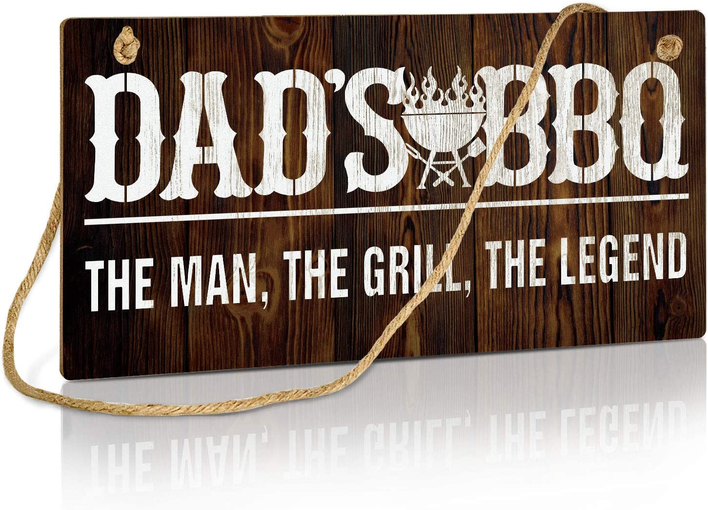 Putuo Decor Dad's BBQ Decorations, Rustic Summer Party Sign for Man Cave, Workshop, Kitchen, Gift for Dad, 10x5 Inches Hanging Wall Plaque - The Man, The Grill, The Legend