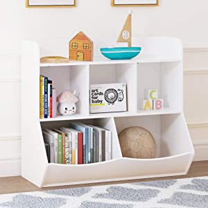 UTEX Toy Storage Organizer with Bookcase, Kid's Multi Shelf Cubby for Books,Toys, Storage Organizer for Boys,Girls Play Room/Bedroom-White