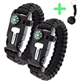 Paracord Bracelet Survival Kit | Black 550 Parachute Cord | 5 in 1 Tactical Set w/Compass, Fire Starter, Knife, Whistle & Rescue Rope | Outdoor Emergency Gear | Waterproof | 2Pcs + Monkey Keychain