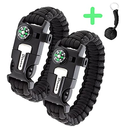 Review Paracord Bracelet Survival Kit | Black 550 Parachute Cord | 5 in 1 Tactical Set w/Compass, Fire Starter, Knife, Whistle & Rescue Rope | Outdoor Emergency Gear | Waterproof | 2Pcs + Monkey Keychain