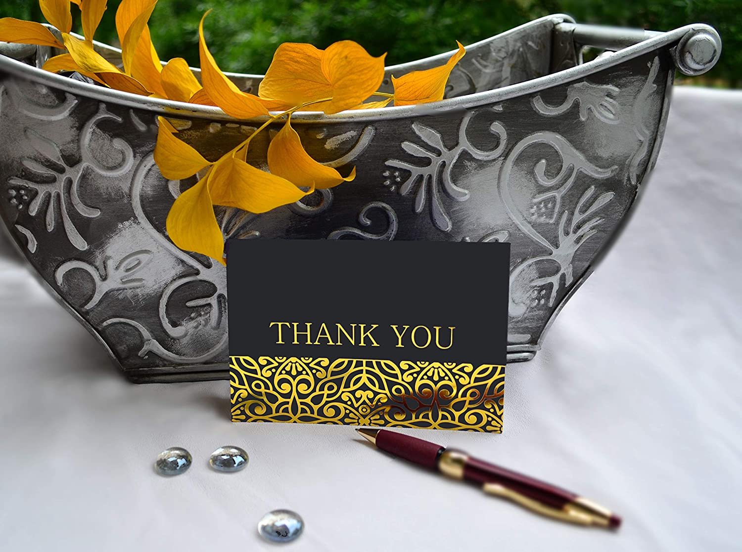 120 Elegant Thank You Cards In Black With Envelopes And Stickers