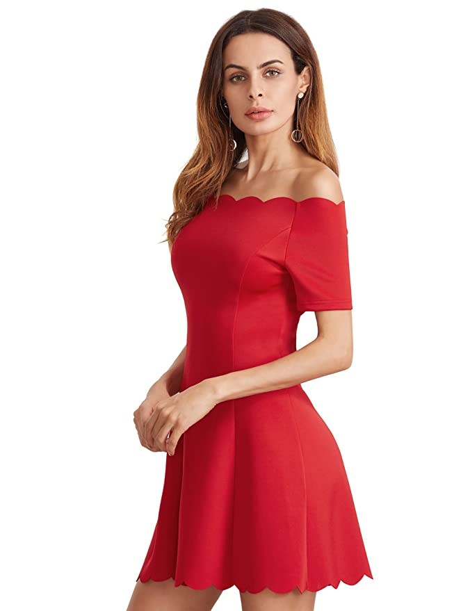 e4a002e27fd ROMWE Robe Dentelles Epaules dénudées Robe de soirée Femme d été Manches  Courts Rouge  Amazon.fr  Vêtements et accessoires