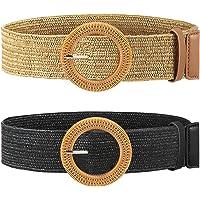 2 Pieces Women Straw Woven Elastic Stretch Waist Belt Skinny Dress Braided Waist Belt with Wooden Style Buckle
