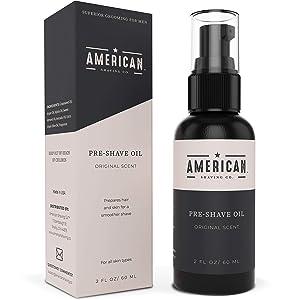 American Shaving Pre Shave Oil For Men (2oz) - Original Masculine Scent - 100% Natural Handcrafted Blend w/Argan & Jojoba - Best Men's Shaving Oil for Effortless Irritation-Free Shaving