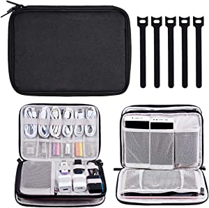 Electronics Organizer, Travel Cable Storage Bag Electronic Gadgets Accessories Case for Charging Cable, Cable Cord, Cell Phone, Hard Drives- Including 5 Pcs Reusable Fastening Cable Ties