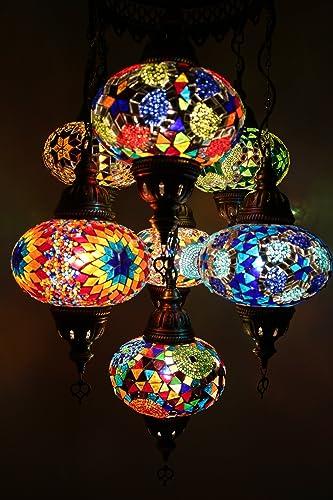 Sbalorditiva lampada turca Lampada appesa mosaicata, lampadario turco  multicolor fatta a mano con mosaici in