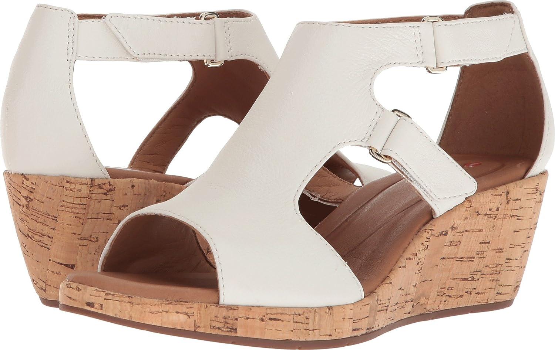 04f3a01956 Amazon.com | CLARKS Women's Un Plaza Strap White Leather 6.5 D US | Sandals