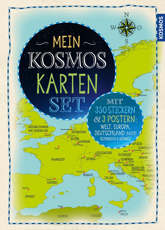 Karte Süddeutschland österreich Schweiz.Mein Kosmos Karten Set 3 Poster 350 Sticker Welt Europa