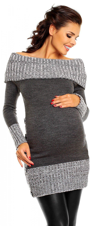 Zeta Ville Women's Maternity Off-Shoulder Knit Pullover Jumper Tunic Top - 913c (Graphite, 8/12)