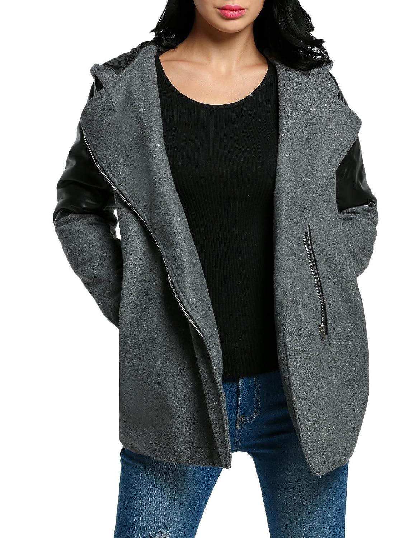 Dark Grey Troll Tree Women Fashion Hooded Lapel Long Sleeve Faux Leather Patchwork Zipup Outwear Trenchcoat Faux Leather