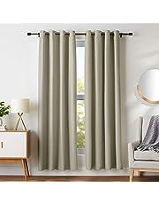 """AmazonBasics Juego de cortinas para bloqueo de luz y aislamiento térmico, con ojales y alzapaños, 132 x 160 cm (52 x 63""""), azul marino (2 paneles)"""