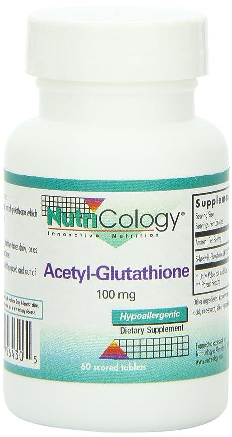 Acetil-glutatión, 100 mg, 60 comprimidos ranurados - Nutricology