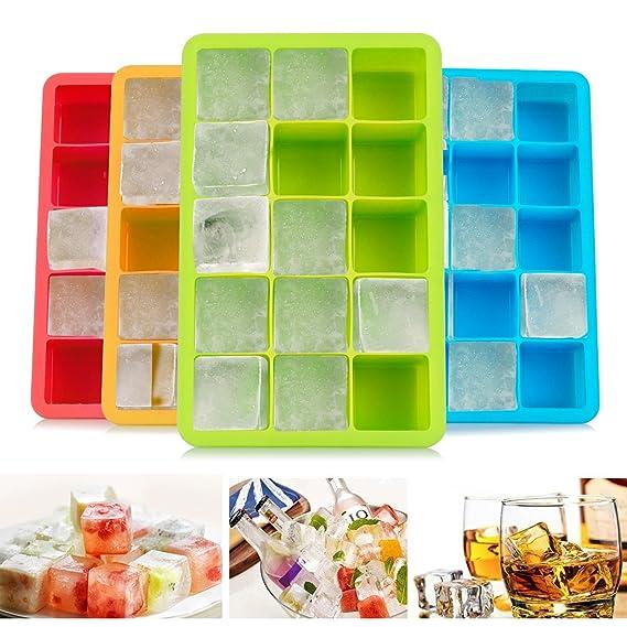 Migimi Eiswürfelform, Eiswürfel Form Silikon Eiswuerfelbehaelter Ice Cube Tray Eiswürfel (4 Stück)