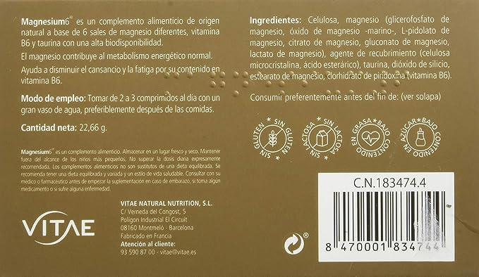 Vitae Magnesium6-20 Comprimidos: Amazon.es: Salud y cuidado personal