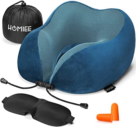 HOMIEE ネックピロー U型枕 頚椎肩こり改善 飛行機 車 旅行用 首枕 トラベル用 耳栓と睡眠アイマスク及び収納袋を付く