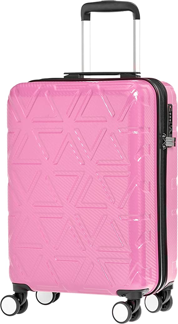 Amazon Basics Pyramid Hardside Carry On Luggage Spinner Suitcase With Tsa Lock 22 Inch Pink Carry Ons Amazon Com