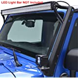 "E-Autogrilles Windshield Mounting Brackets for 52"" LED Lights for 07-17 Jeep Wrangler JK (LED Bar NOT Included)"