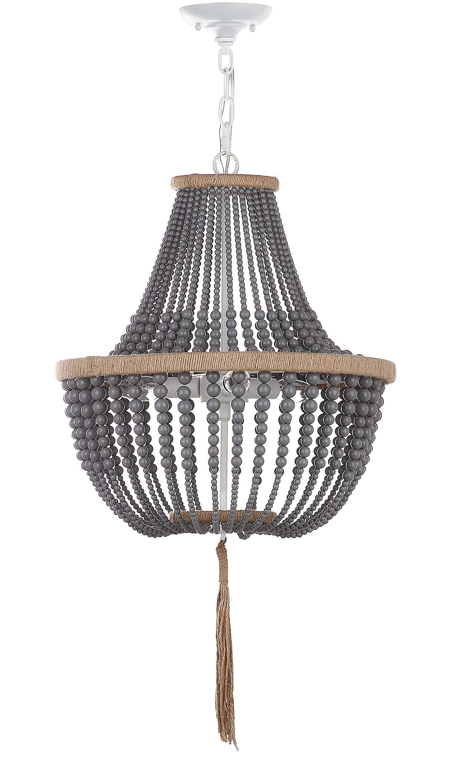 Safavieh'' Collection Lush Kristi 3 Light 16.5'' Beaded Pendant Grey