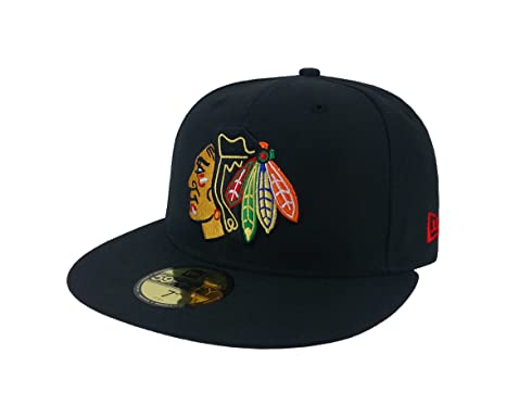New Era 59Fifty Hat NHL Chicago Blackhawks Classic Wool Black Fitted  Headwear Cap (7) 4bcf87f6925