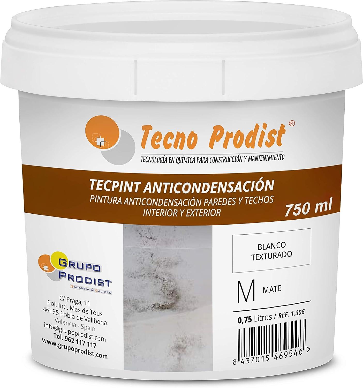 TECPINT ANTICONDENSACIÓN de Tecno Prodist - (750 ml) - Pintura Anti-condensación y Anti-moho al Agua para Interior y Exterior - Paredes y Techos - Buena Calidad - Fácil Aplicación - (BLANCO)
