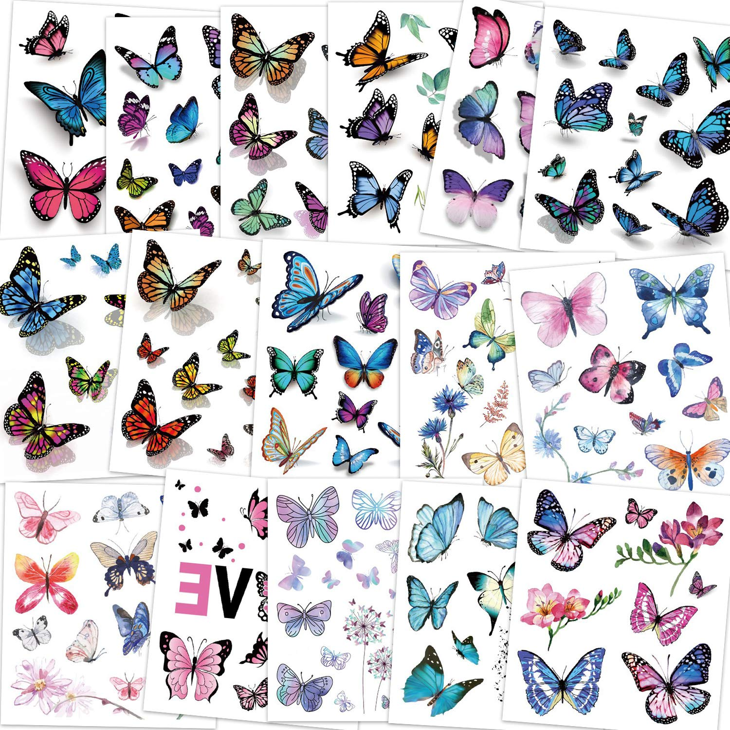 Fl... Fun Stickers Temporary Tattoo Kids Party Bag Fillers 6 Sheets Butterflies