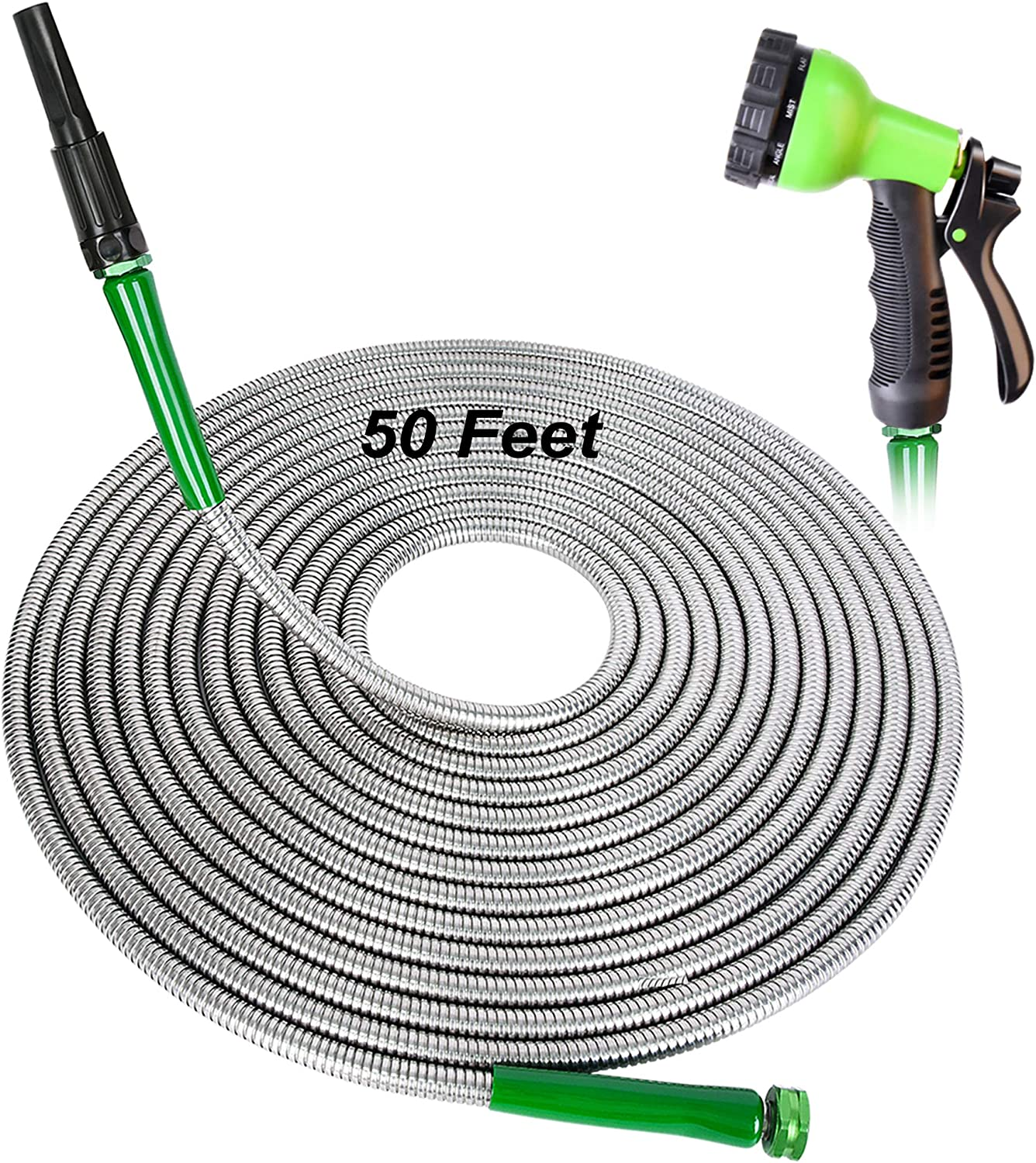 FUDESY 50 Feet 304 Stainless Steel Metal Garden Hose - 10-Ways Spray Nozzle | One More Adjustable Nozzle | Leakproof Gasket,Anti-Corrosion Kinkproof Water Hose for Garden,House,Pet