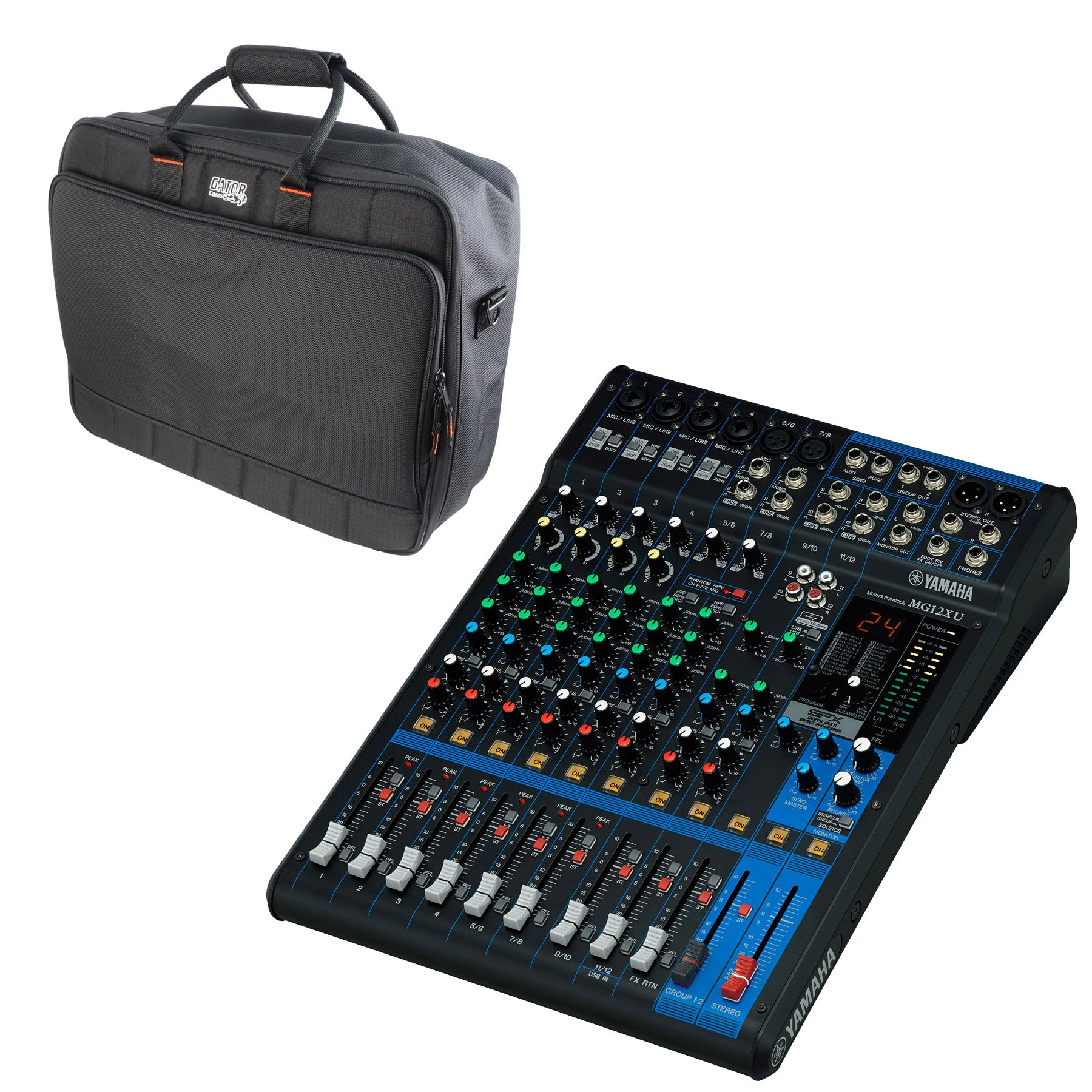 Yamaha MG12XU 12 Input, 4 Bus Mixer (w/Compression, Effects, and USB) & Gator Travel Bag Carry Case