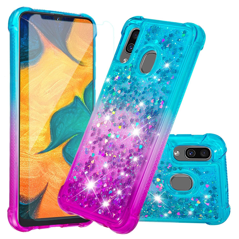Funda + Vidrio para Samsung Galaxy A10 Glitter HAOTP [7VBHSYRG]