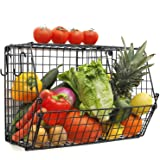 Hanging Kitchen Baskets for Fruit and Vegetables Storage with S Hooks, Rustic Produce Bins/Metal Shelf Stand & Wall…