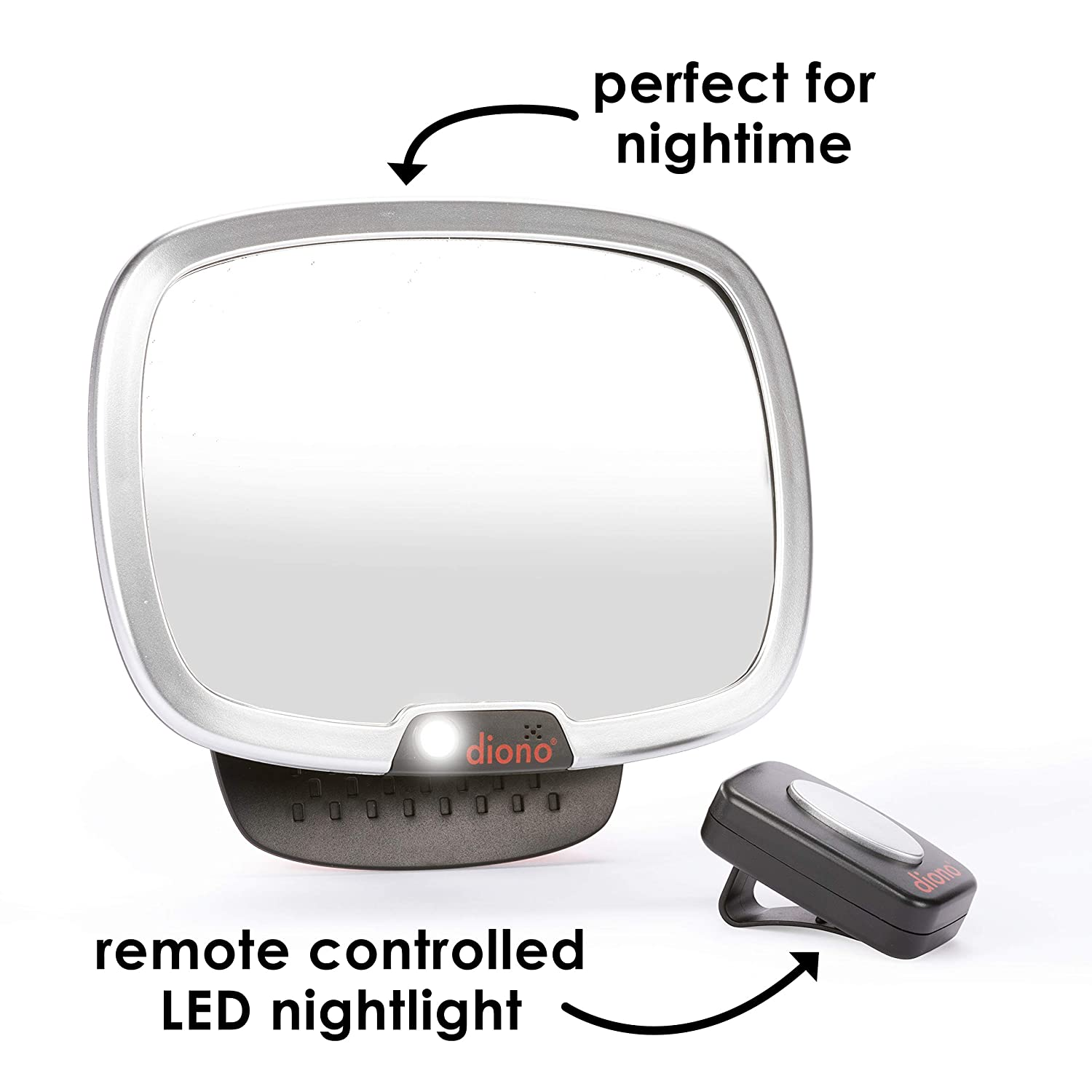 Diono Mirror Easy View Easy to Attach Silver View Infant in Rear-Facing Car Seat Universal Pivots for Perfect Viewing Angle Sleek Modern Backseat Mirror Rotates 360 Degrees