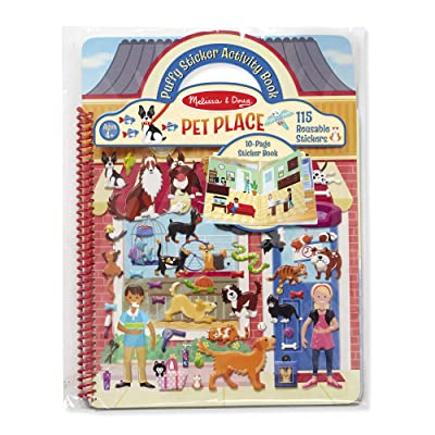 Melissa & Doug Pet Place Puffy Sticker Activity Book (Reusable Puffy Sticker Play Set, 10 Pages, 115 Stickers, Great Gift for Girls and Boys – Best for 4, 5, 6, 7 and 8 Year Olds): Toys & Games