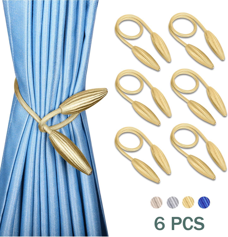 "16/"", Beige 2-Pack Creative Curtain Tiebacks Window Drape Twist Tie Backs European Style Decorative Weave Rope Drapery Holdbacks for Window Drapries"