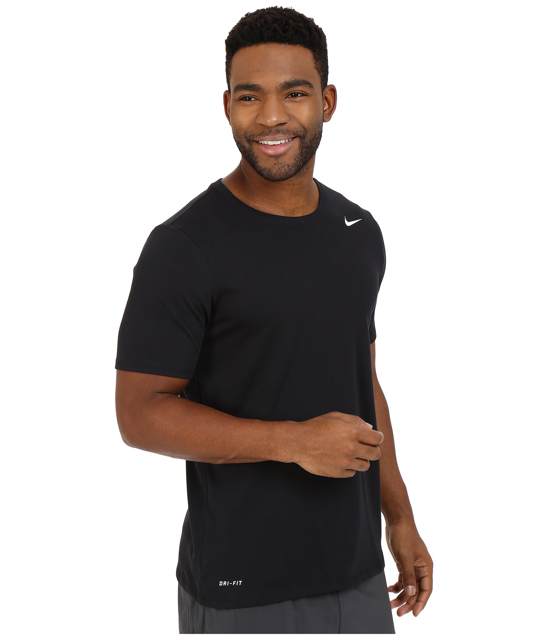 NIKE Men's Dri-FIT Cotton 2.0 Tee, Black/Black/White, Small by Nike (Image #5)